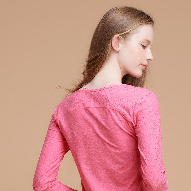【MACACA】fit對流長袖訓練衣|| - BPT3373 桃麻花