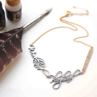 Calligraphy Workhard Playhard Necklace