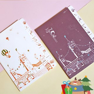 【Blank-face Boy's Day Trip / Notebook with Labels】(2 per pack: elegant purple and carnival orange)【無臉男的一日遊 / 標籤分類筆記本】(優雅紫與熱鬧橘,各1入)