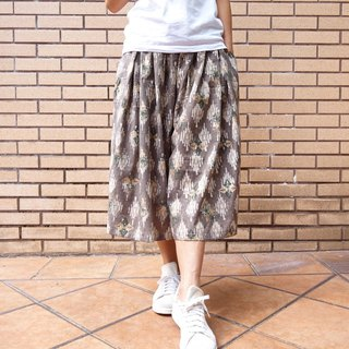 Woman culottes free size brown golden handblock