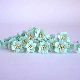Paper flower, 50 pcs. small cherry blossom supplies, 2 cm. mint color.