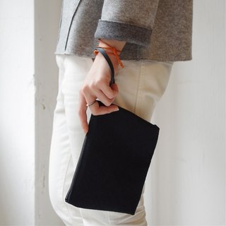 Kurashiki canvas clutch bag Handsome black