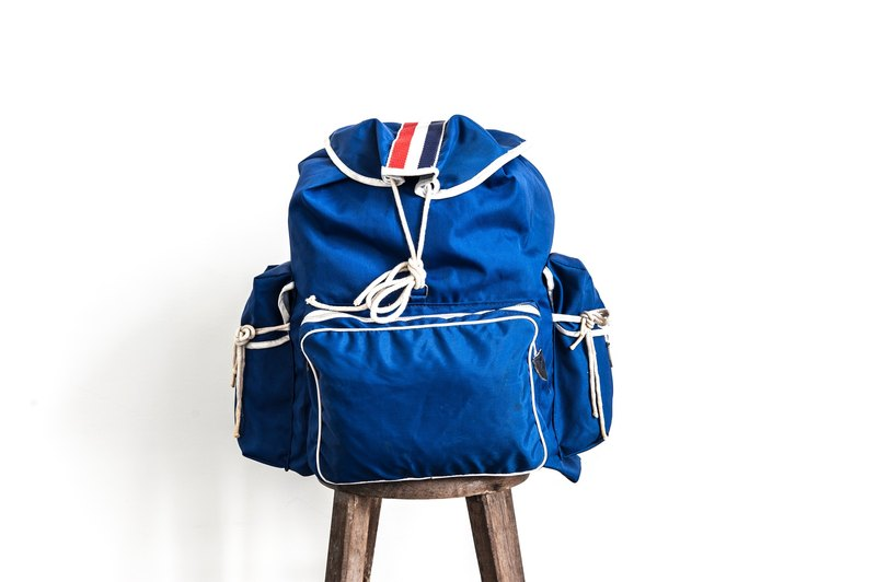 Vintage Camping Backpack Retro Blue