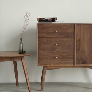 Laoshan Studio - Walnut/Cherry - Solid wood Dining Table Side Cabinet - Small Storage Cabinet - Small Cabinet