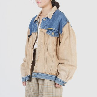 [Egg plant ancient] color matching people wide version of the ancient denim jacket