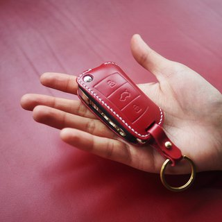 Red Audi car key set Italian vegetable tanned leather handmade custom