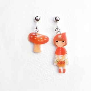 Little Q Little Red Riding Hood Original Illustration Fairy Tale Character with Red Mushroom/Clip Earrings