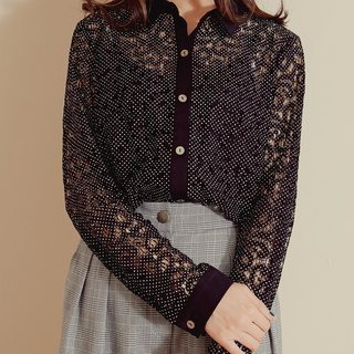 MIT little lace openwork shirt - with cute little (R6015A)