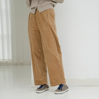 BUFU unisex Corduroy wide-leg pants in Mustard Yellow P180418Y