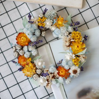 To be continued | sunset gorgeous dry flower wreath blue yellow spot