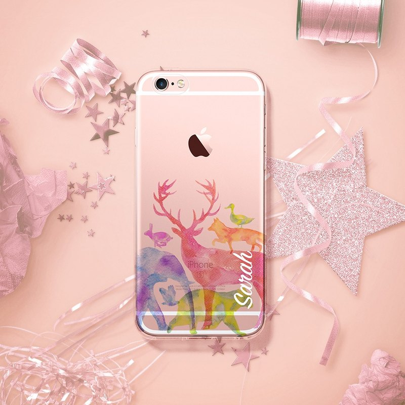 check out 96f51 5db63 Custom phone case - iPhone 7, iPhone 7 plus forest animals watercolor C123