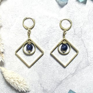VIIART. Between the squares. Blue sandstone mysterious geometric brass earrings - can be changed