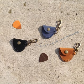Guitar PICK bag, hand-stitched leather, holster, key ring [leather] blue, black, brown orange