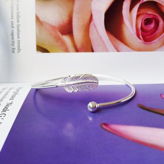 925 sterling silver simple and romantic [elegant feather adjustment bracelet]