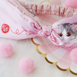 Original handmade pink cat bow hair band