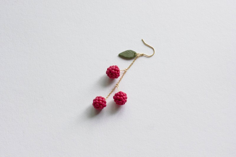 Handmade raspberry 925 sterling silver plated 18K gold earrings earrings gold plated 18k pair