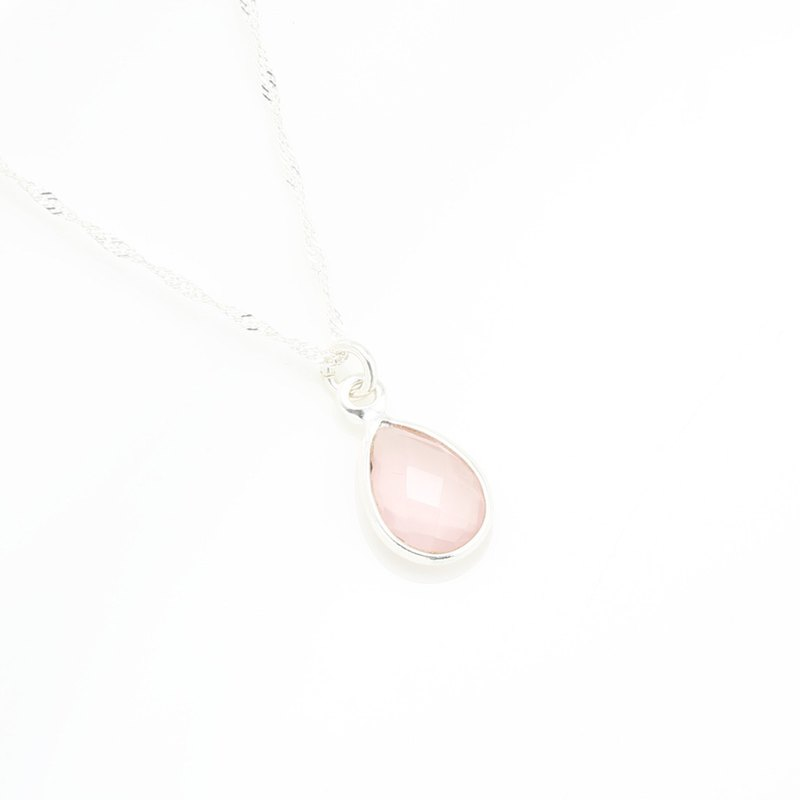Rose Quartz Crystal Raindrop s925 sterling silver necklace Valentine's day gift