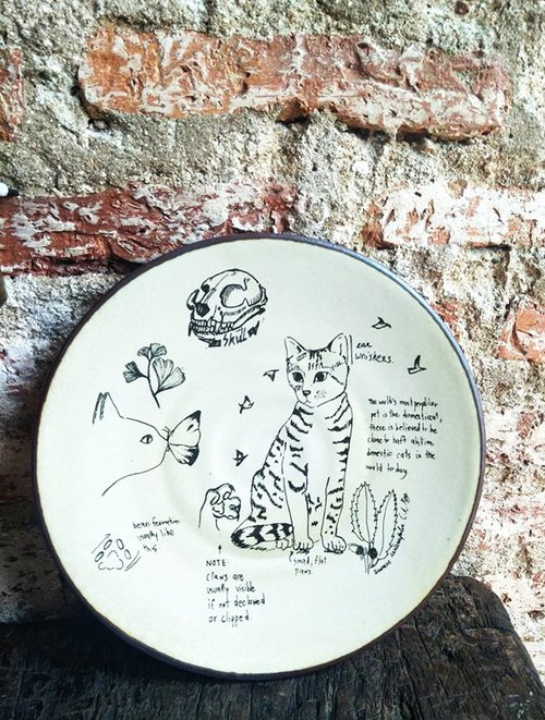 Ceramic Cat Plate (Small Size)