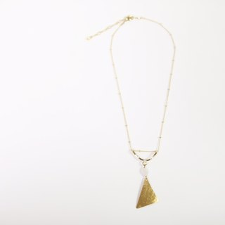 brass and stone necklace-bow