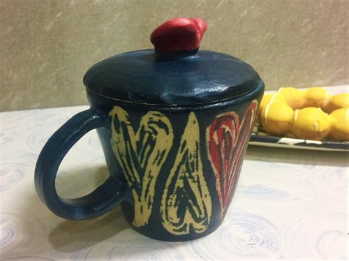 Heart with India covered mug _ pottery mug