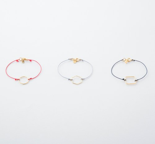 Kika × braid bracelet / Kumihimo with Geometry ring Bracelet