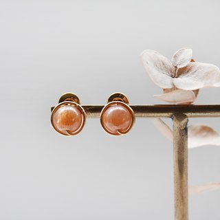 Sunstone Ear Clips / Ear Pins | Classic Sun Stone Earrings