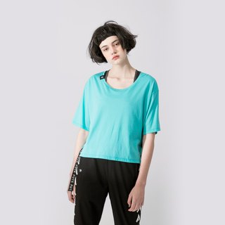 WOMENS LACE UP SIDE ROUND NECK T SHIRT / Turquoise