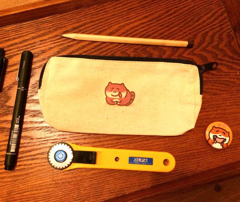 Greedy cat's daily canvas pencil case (storage bag) hand-printed Pencil case