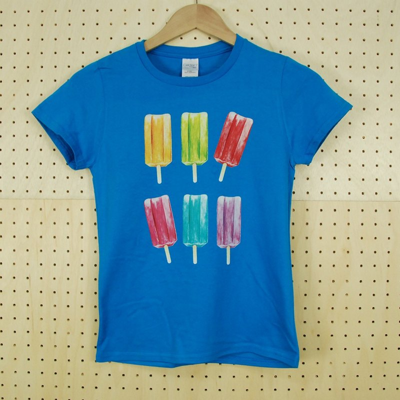 "New Designer-T-shirt: [colorful bamboo sticks] short-sleeved T-shirt ""neutral / self-cultivation"" (sapphire blue) -850 Collections"