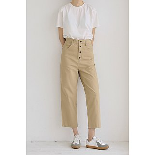 Quite cool | Khaki handsome four buckle high waist straight nine points trousers washed sand cotton