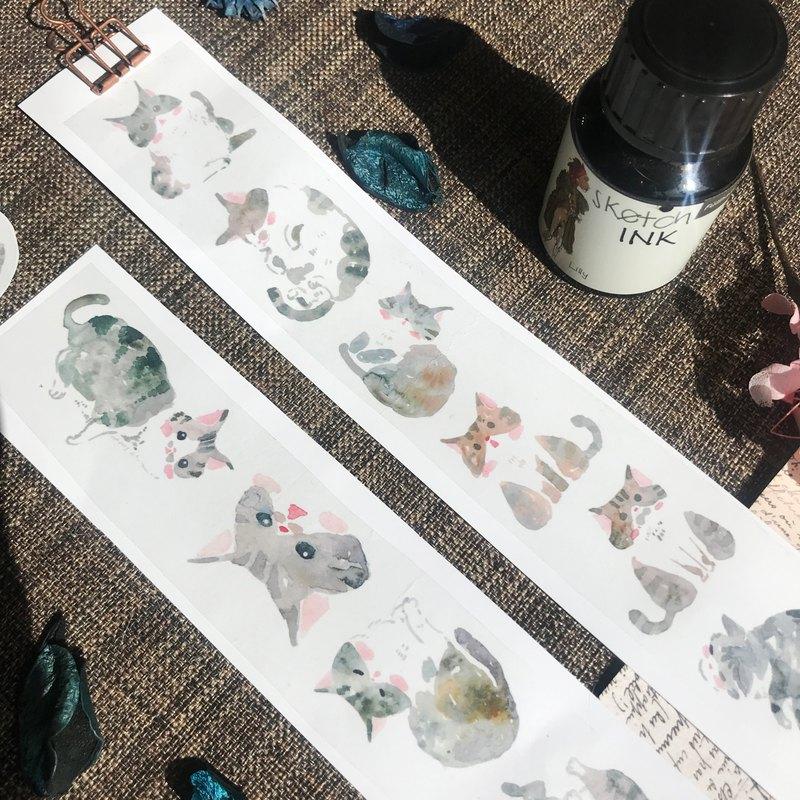 白底虎斑貓的日常紙膠帶