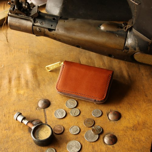 日本製造 硬幣錢包 牛皮 栃木皮革製作 椰褐 made in JAPAN handmade leather wallet coincase
