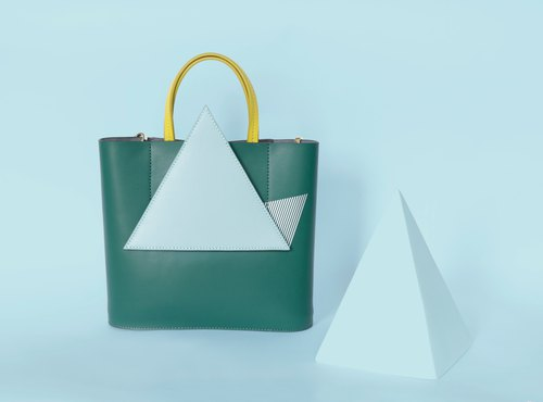 Original design geometry and shadow Leather Handmade bag