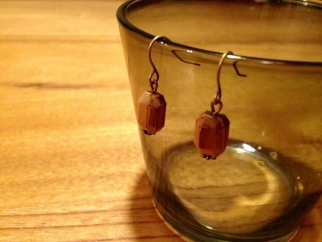 wooden jewel earrings