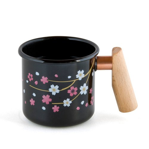 Sakura wooden handle cup 400ml (Temperature change color)