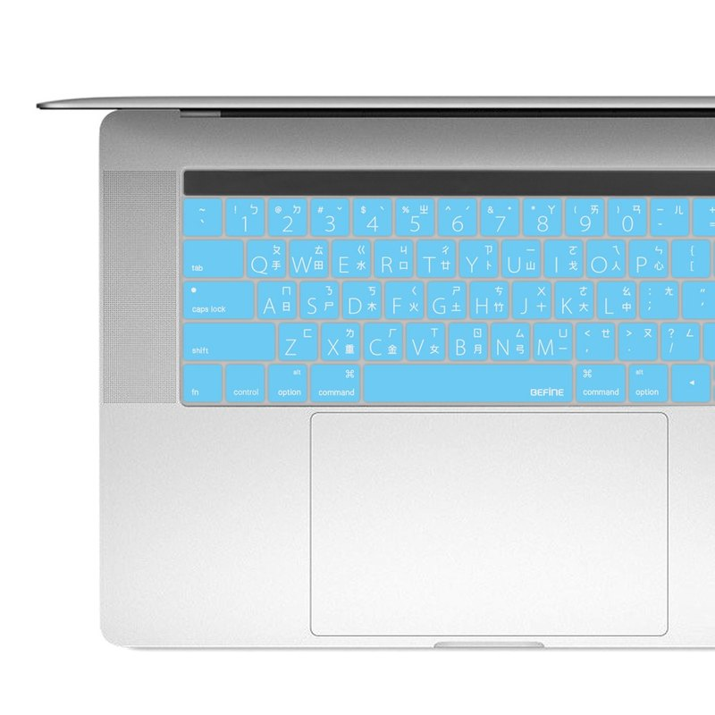 "BEFINE The New MacBook Pro 13/15 中文專用鍵盤保護膜 - 藍底白字 (8809402591824)( MacBook Pro 13"" & 15"" with Touch Bar and Touch ID專用)"