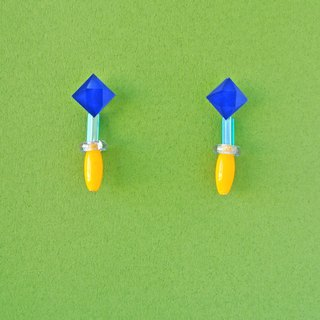 Set of marin mara lab blue and white mosaic / bright yellow glass before and after the two earrings / ear clip (EM009)