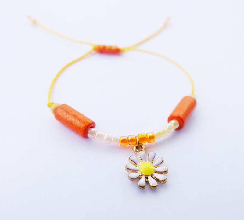 White yellow orange flower string bracelet