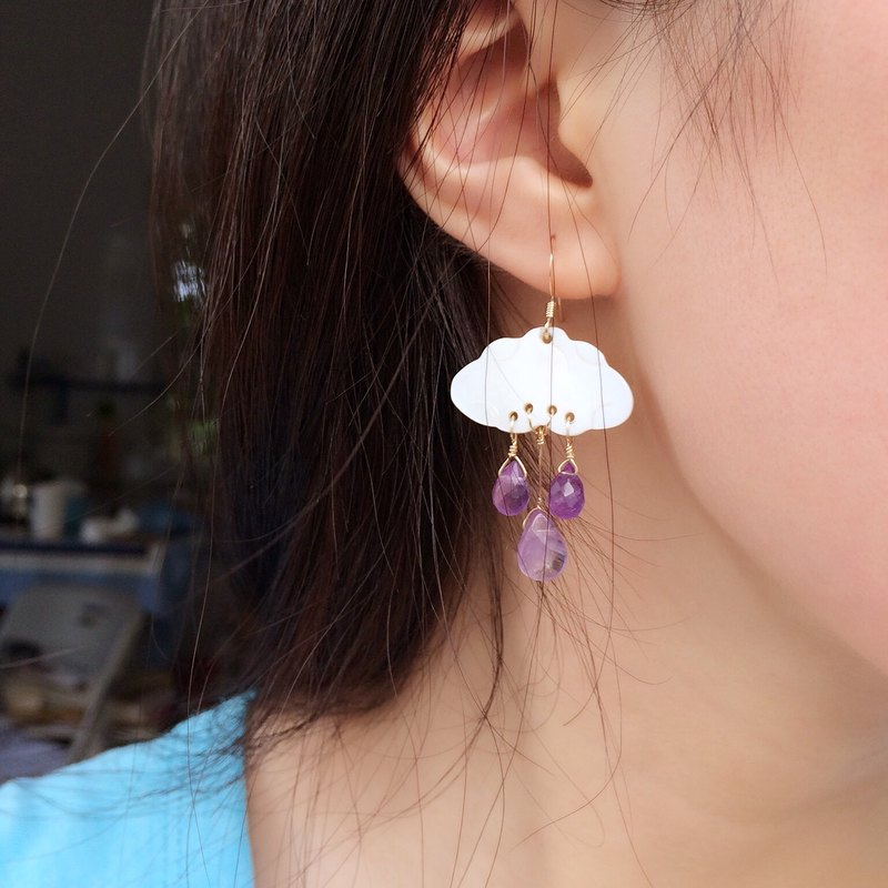 【Rain】14kgf- amethyst earrings