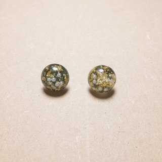 Vintage dark green gold foil pearl ball earrings