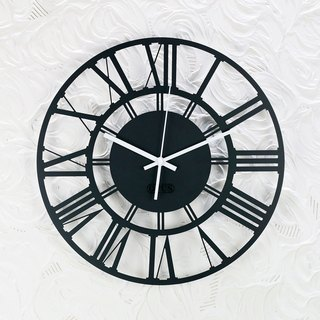 [OPUS Dong Qi Jingong] European wrought iron clock - Roman numerals (black) silent wall clock / modeling wall clock