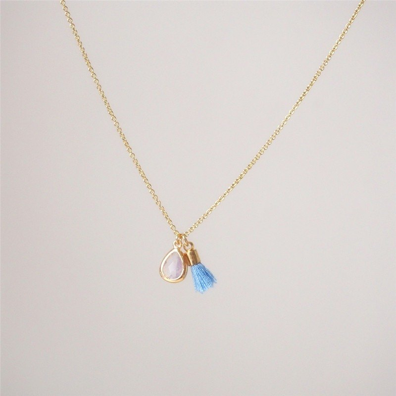 """KeepitPetite"" exquisite · gold-plated side of the glass water droplets imitation gem · small tassel necklace (40cm)"