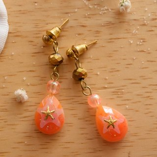 Cute & Beauty Orange Water Drop with Gold Crystal Earrings Resin
