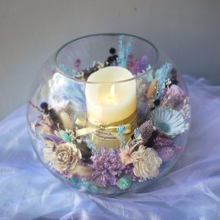 Eden's Praise - Glass Ball Table Flower with Electronic Candle Opening / Exhibition / Birthday