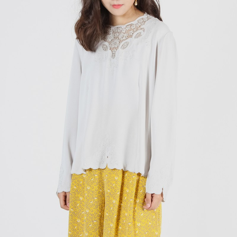 [Egg Plant Vintage] Morning Star Embroidered Lace Vintage Shirt Top