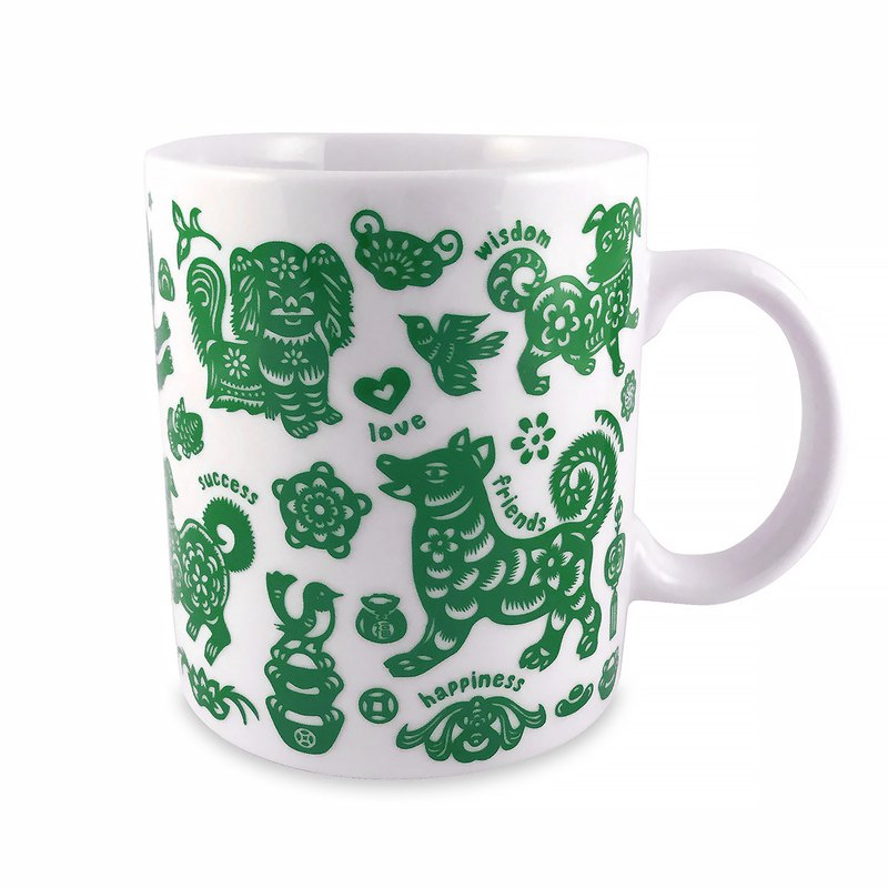 Ten dogs and ten beautiful dog mugs (green)