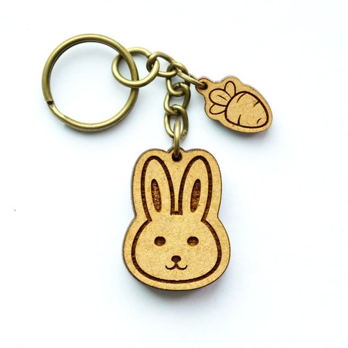Wooden key ring - Rabbit