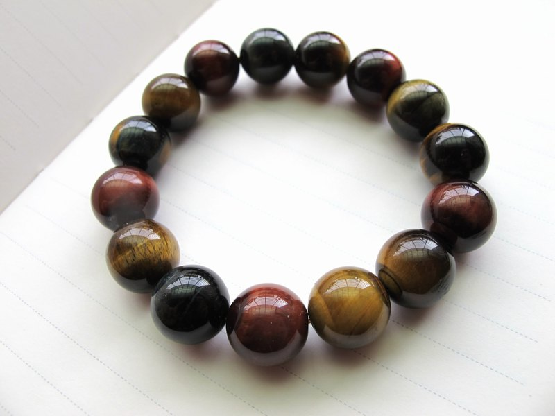 [Bright] 13.5mm tricolor tiger eye - hand-created natural stone series