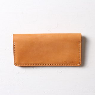 Minimal long clip hand leather wallet