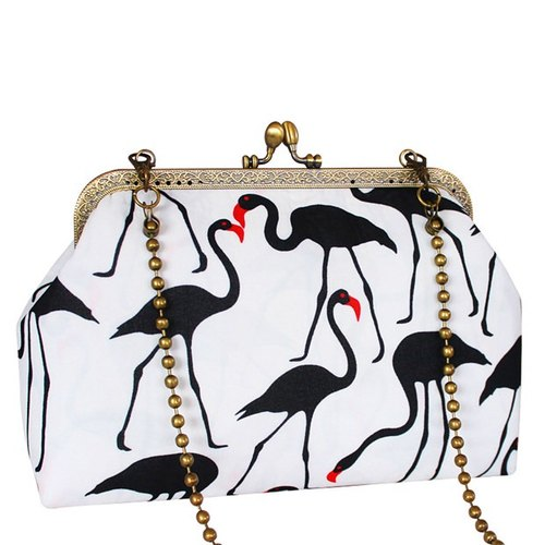 (On the new first 50% off) the art of mouth gold package cheongsam bag Messenger bag flamingo iphone phone bag mobile phone bag oblique bag bag bag birthday gift custom gift